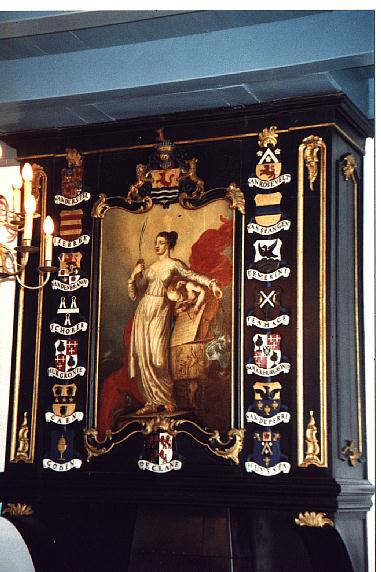 Painting  <i>Justice</i> from Jacob Xavery 1736/after 1779(see info on Xavery's below)  with Rosevelt coat of arms, designed and painted by Joannes Piepers, cut out by  Adriaan van de Bilt
