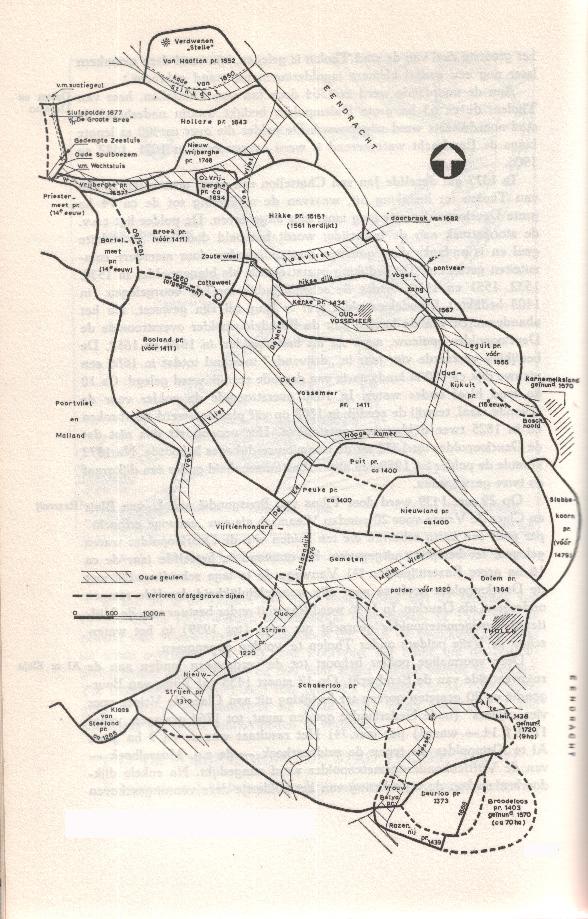 Het gebied van Oud-Vossemeer/Tholen en de oude  geulen.