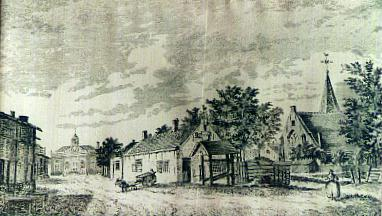 1798 plm. Kijkje op  smidsklokje, Ambachtsherenhuis en links  Roosevelthuis.