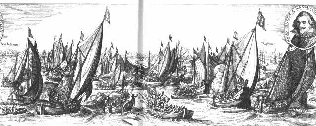 Slag op de Slaak, linksboven staat Nieuw-Vossemeer,rechtsboven Vossemeer