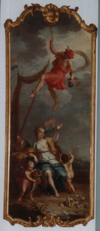 Painting by Balthasar Beschey 1708-1776, allegoy on trade and prosperity, Hermes and Thaleia(leadgodess of muzes and one of the charites)(Greec) Mercurius and Fortuna (Roman)